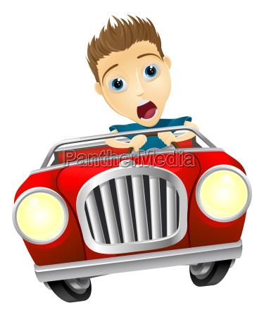 cartoon mand kore hurtig bil