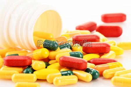 sammensaetning med forskellige stof piller og