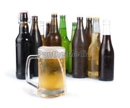 bottles of beer and beer mug