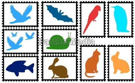 marcas com silhuetas animais coloridas