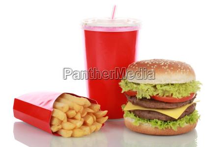 dobbelt cheeseburger combo med pommes frites