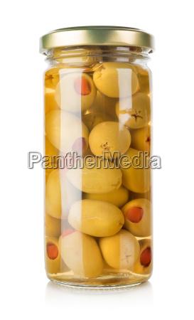 oliven i en glaskrukke