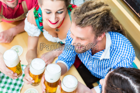 people in bavarian tracht in a