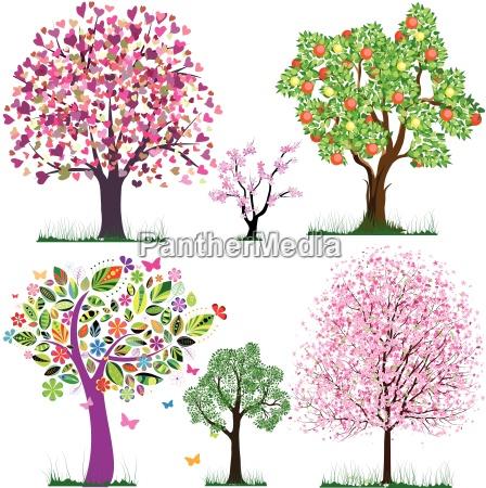 wektor fantastyczne drzewa
