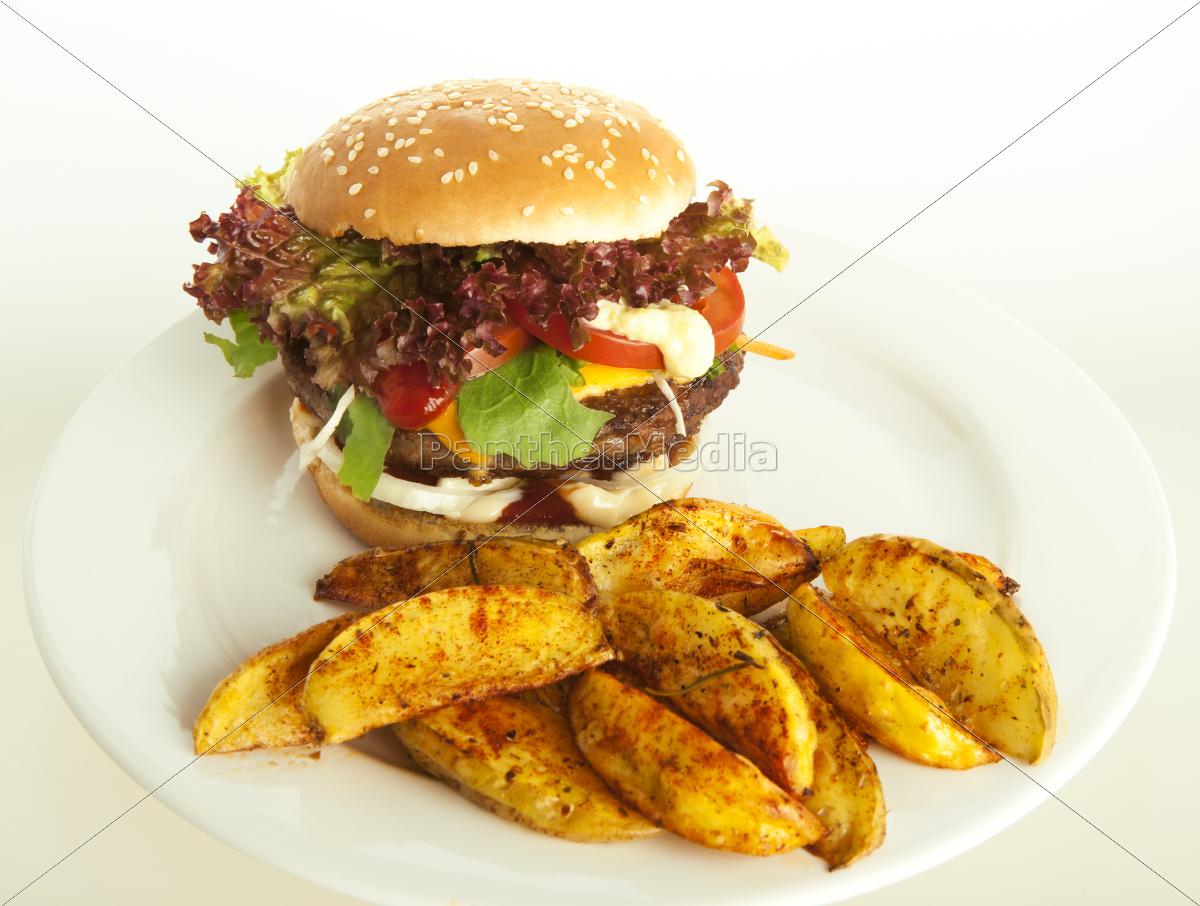 cheeseburger, med, kartoffel, kiler - 10055004