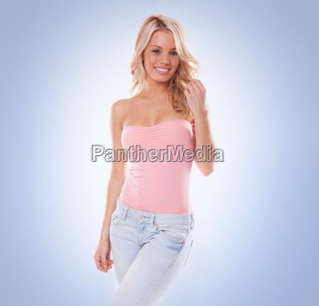 smuk, trendy, ung, blond, kvinde - 10098672