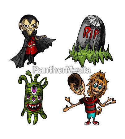halloween, monstre, isoleret, skitse, stil, skabninger - 10110157