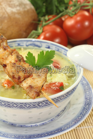 asian chicken soup with greens
