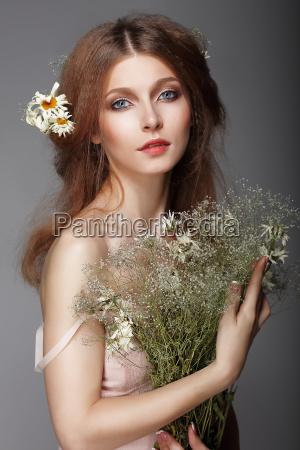 følelser., portræt, af, redhair, nostalgisk, kvinde - 10276937