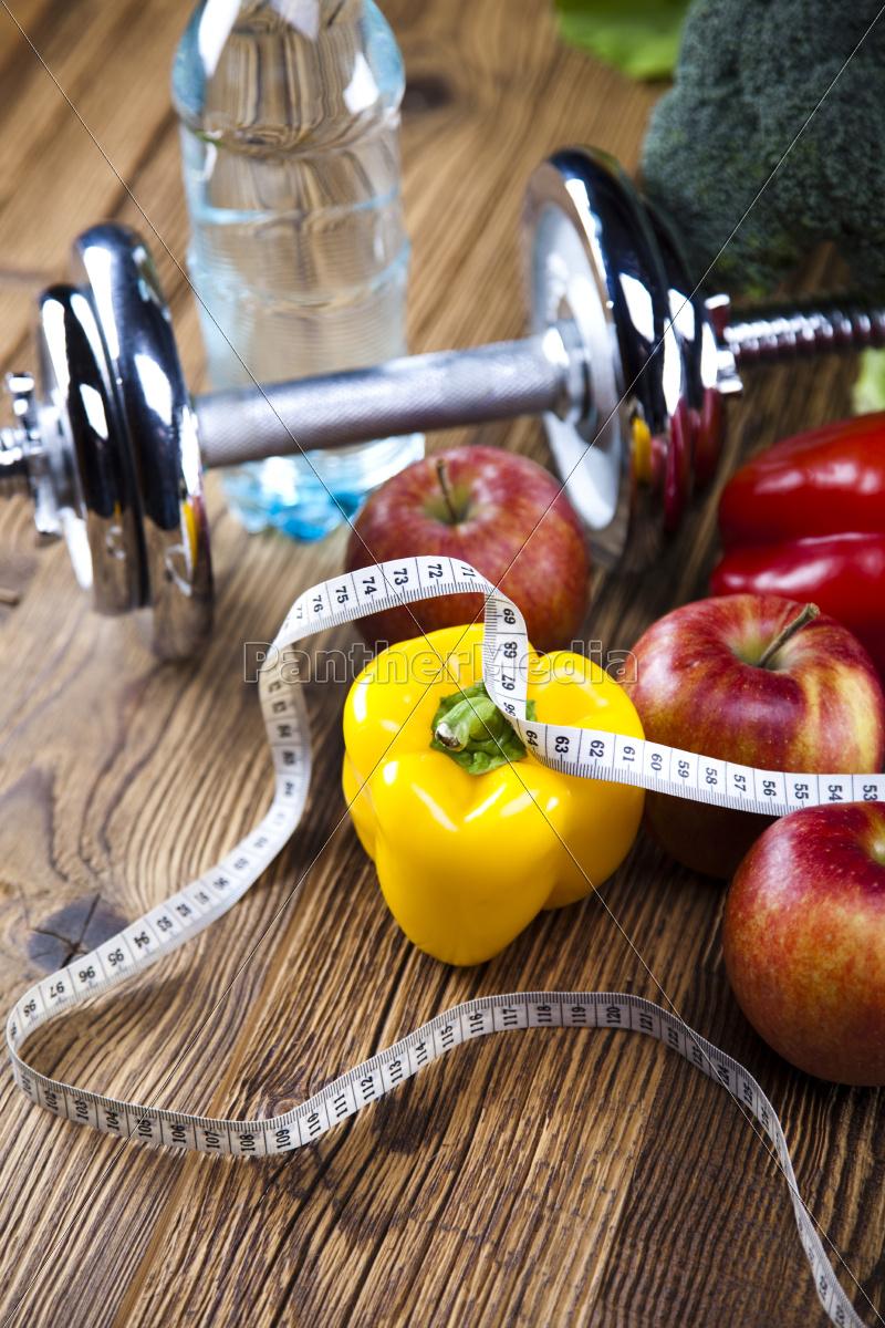 friske, fødevarer, og, foranstaltning, tape, sport, kost - 10328689