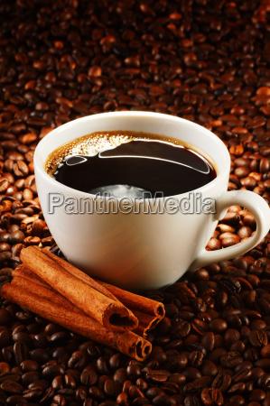 sammensætning, med, kop, kaffe, og, bønner - 10418435