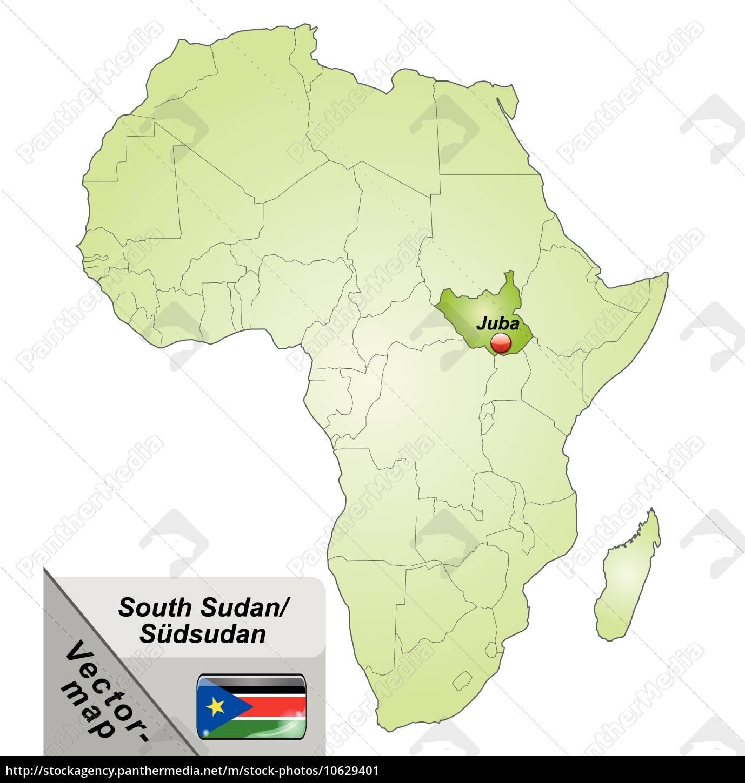 Island Kort Over Sydsudan Med Hovedstaeder I Gron Royalty Free