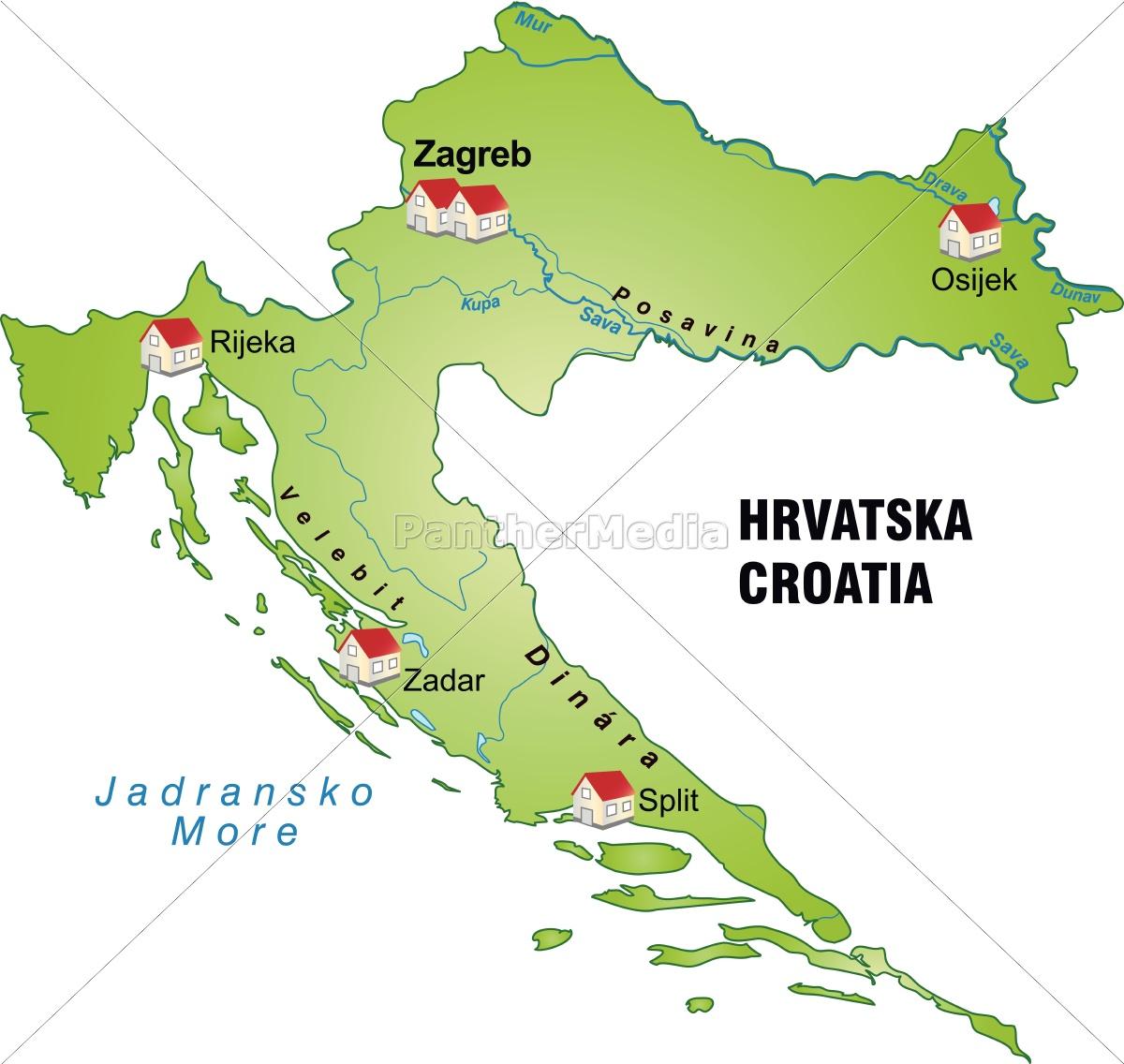 Kort Over Kroatien Som En Infografik I Gron Royalty Free Image
