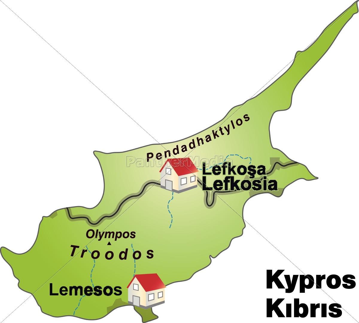Kort Over Cypern Som En Infografik I Gron Royalty Free Image