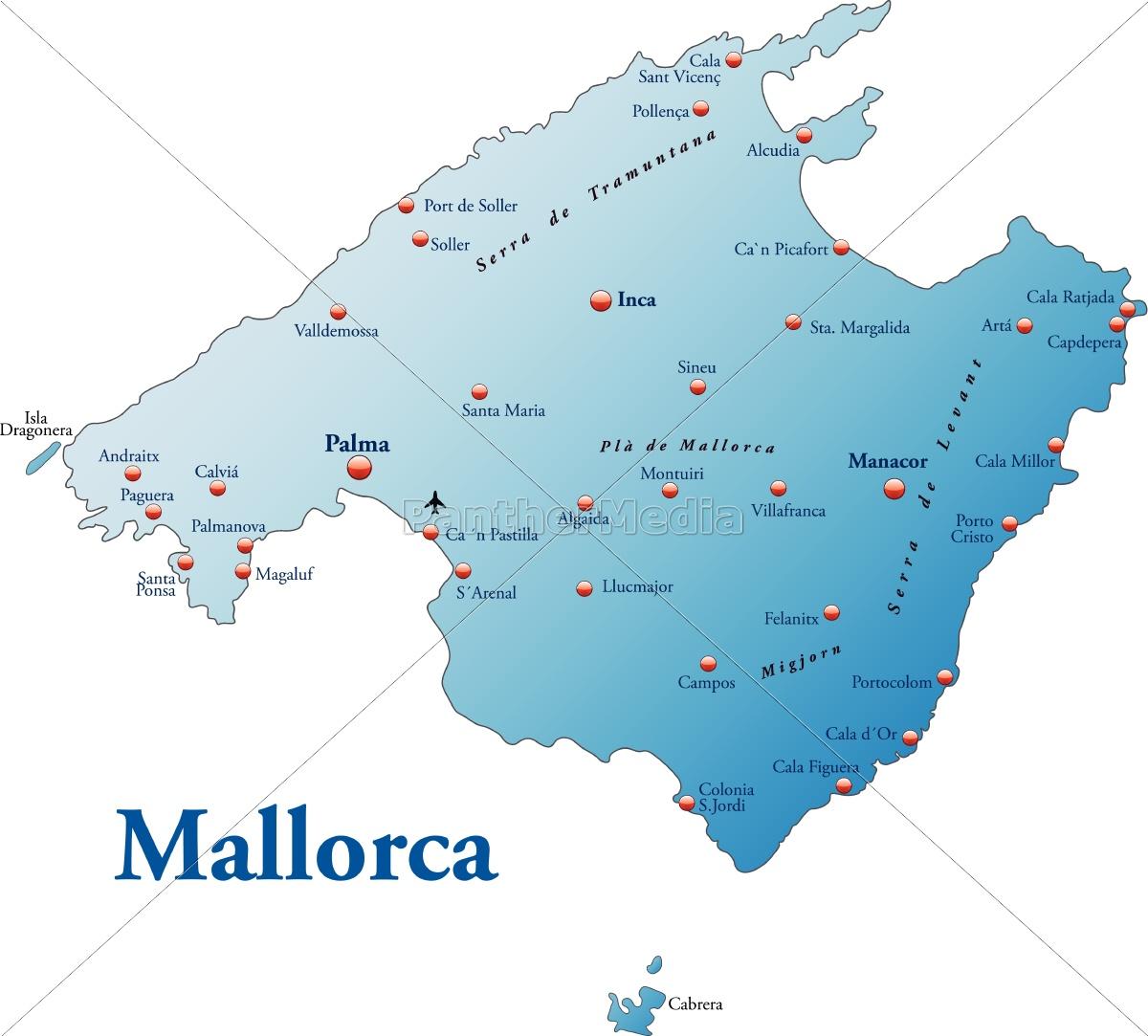 Kort Over Mallorca Som Et Oversigtskort I Bla Stockphoto