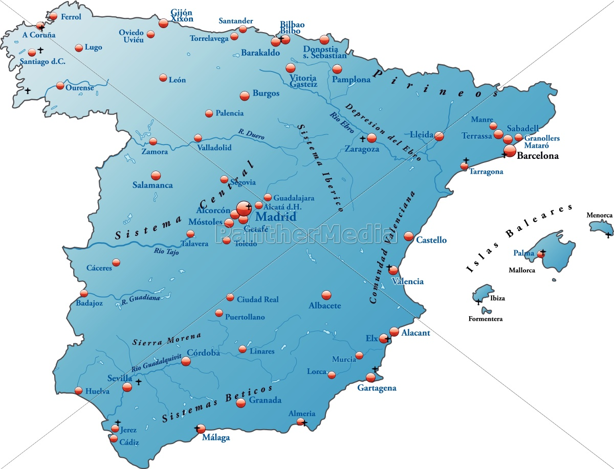 Kort Over Spanien Som Et Oversigtskort I Bla Stockphoto