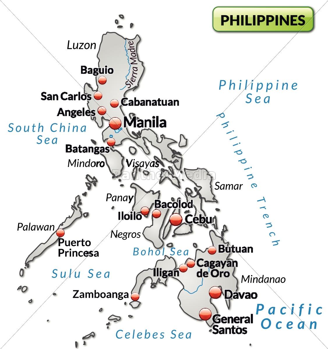 Island Kort Over Filippinerne Som Et Oversigtskort I Stockphoto