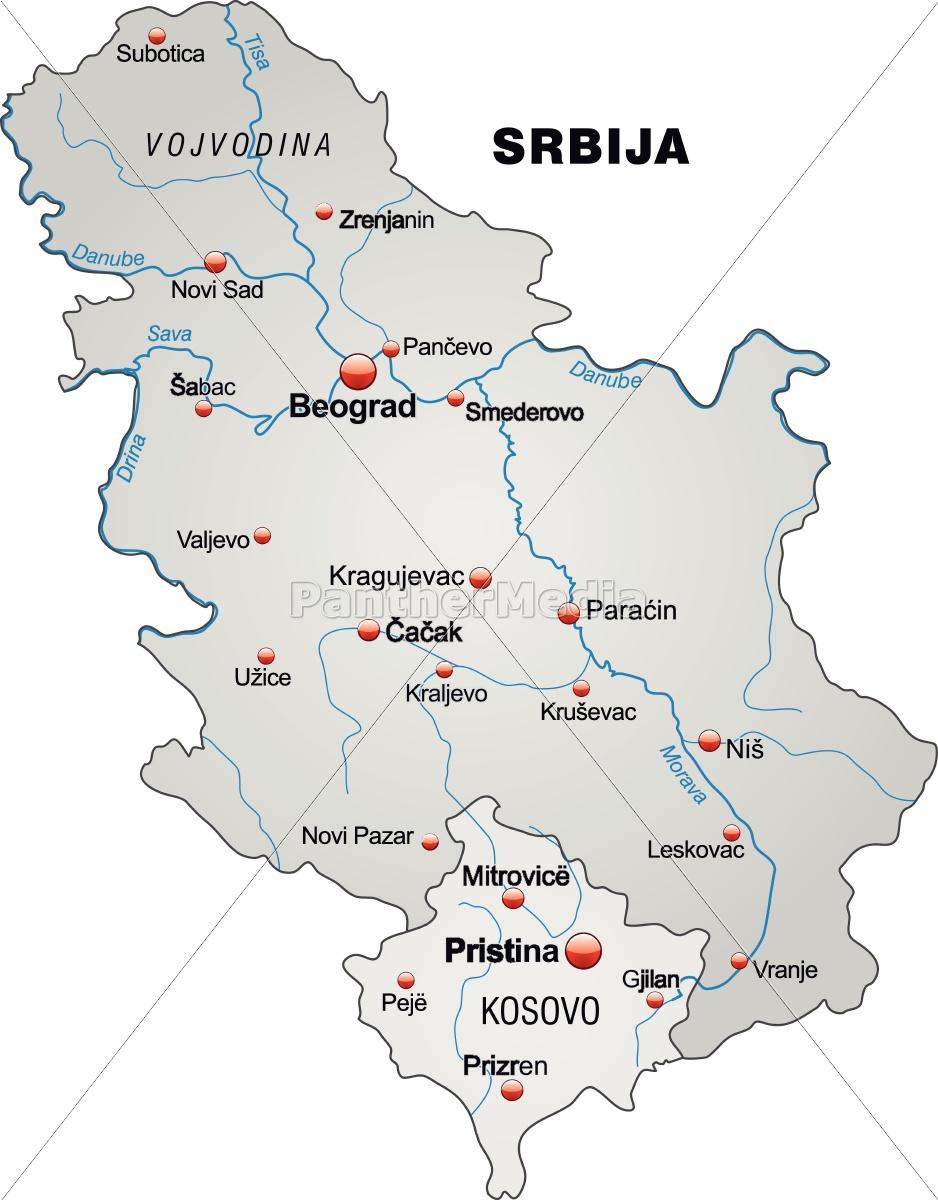 Kort Over Serbien Som Et Oversigtskort I Gra Stockphoto