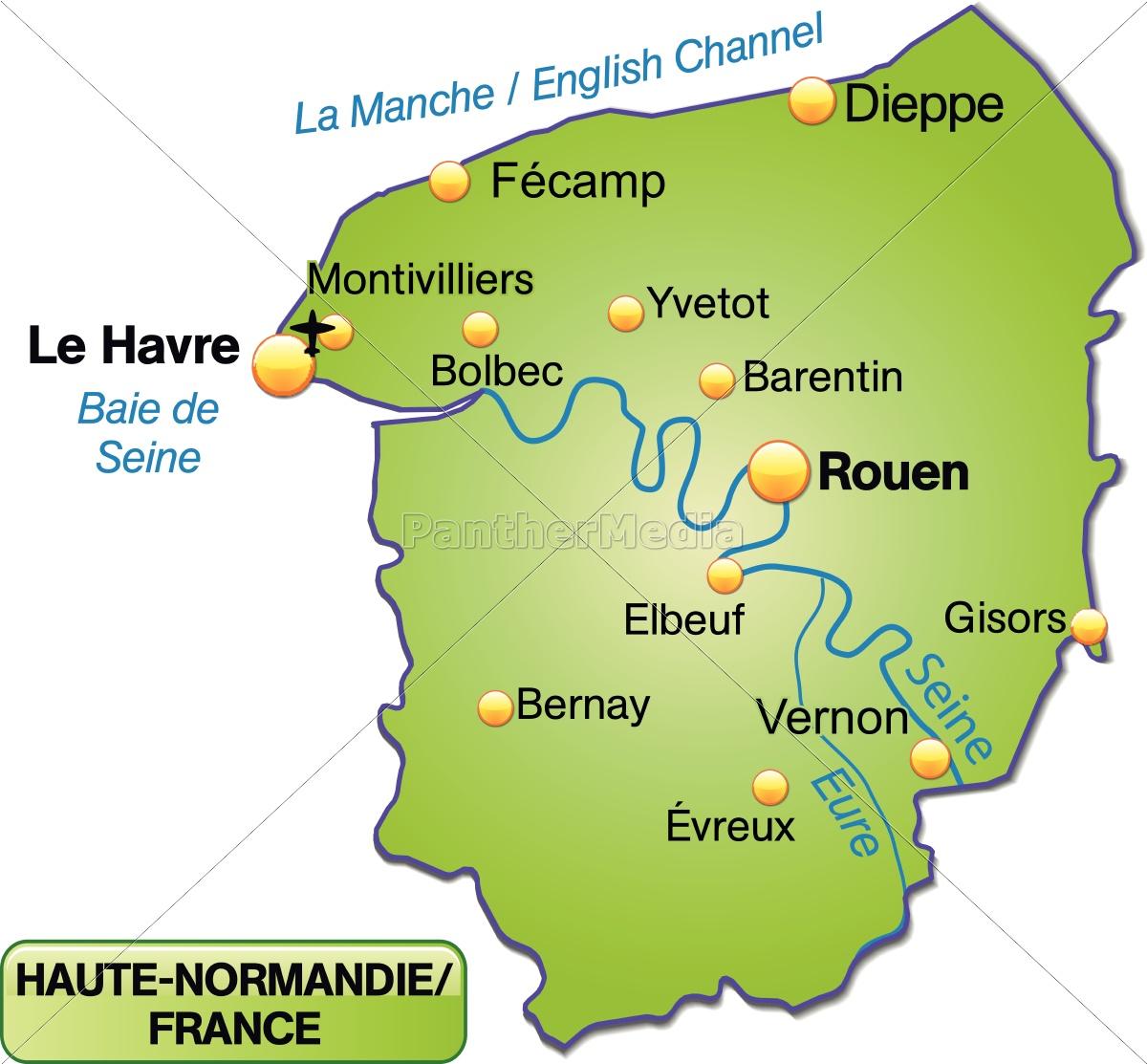 Island Kort Over Haute Normandiet Som Oversigtskort I Royalty