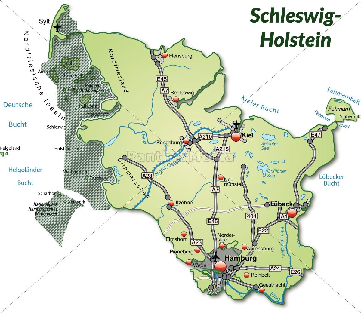 Kort Over Schleswig Holstein Med Transportnetvaerk I Stockphoto