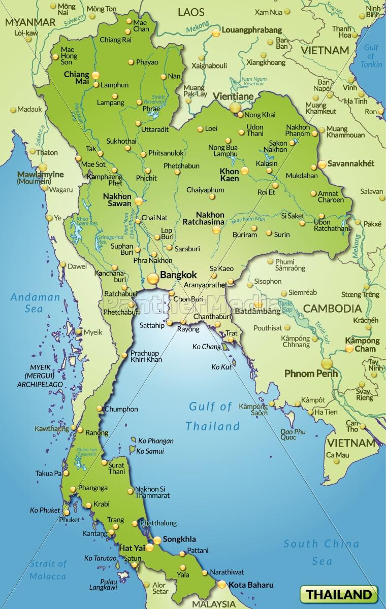 Miljo Kort Over Thailand Som Oversigtskort I Gron Stockphoto