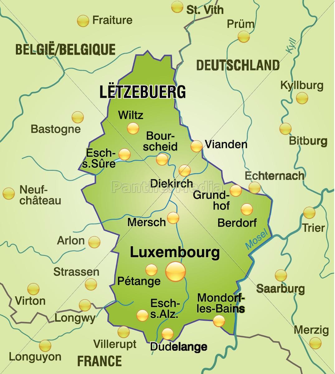 Kort Over Luxembourg Som Konturkort I Gront Royalty Free Image
