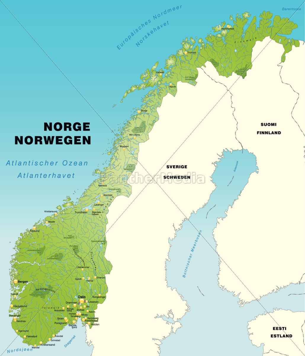 Kort Over Norge Som Oversigtkort I Gron Royalty Free Image