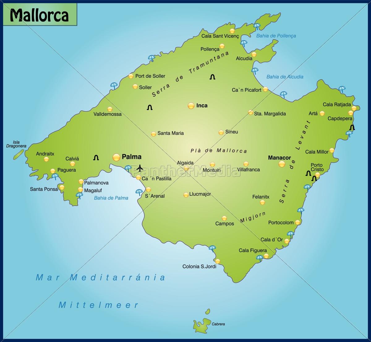 Kort Over Mallorca Som Et Oversigtskort I Gron Stockphoto