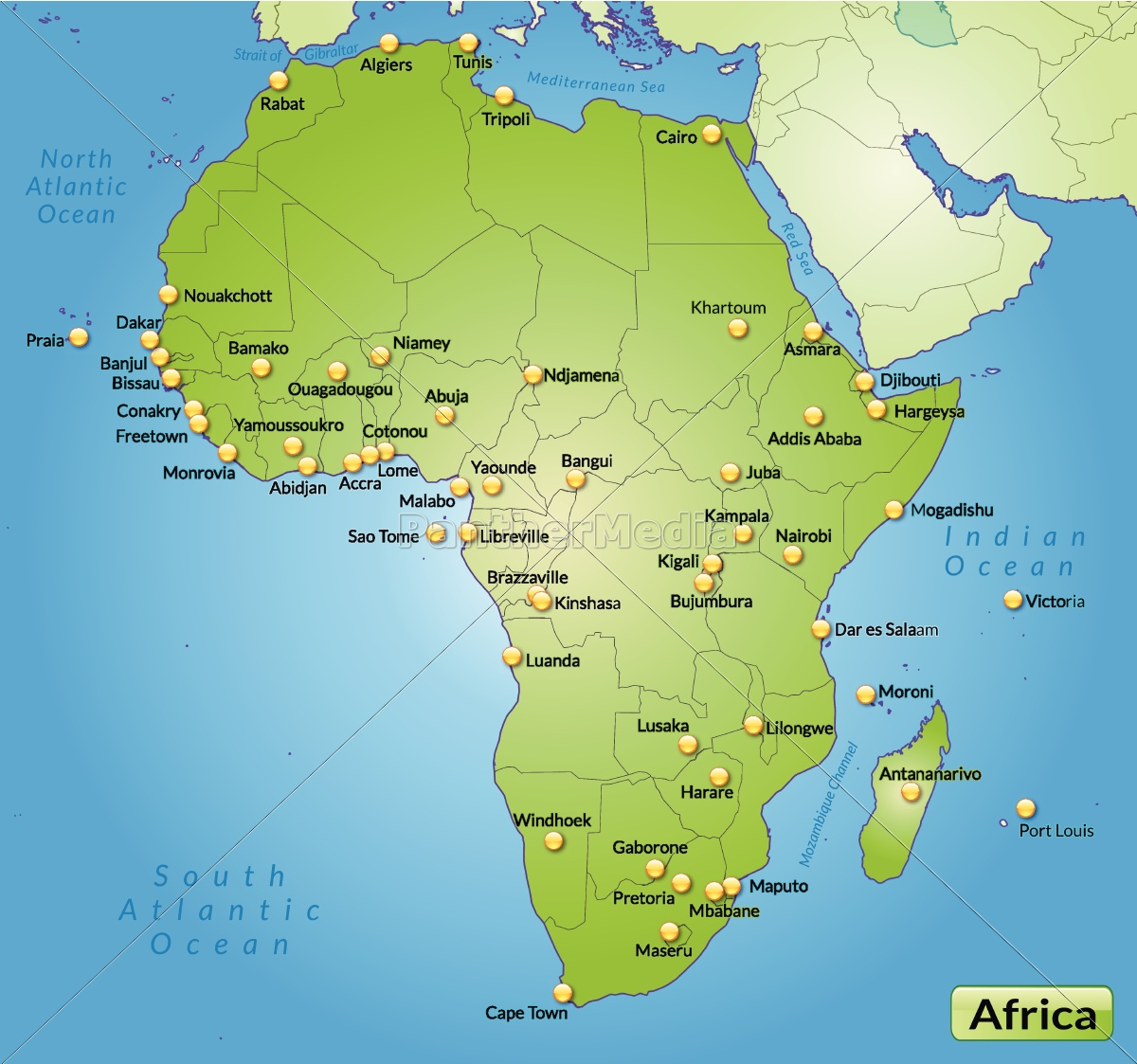Kort Over Afrika Som Et Oversigtskort I Gron Royalty Free Image