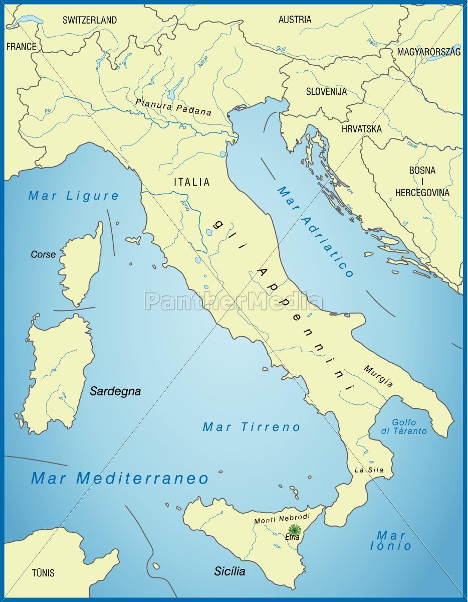 Kort Over Italien Som Et Oversigtskort I Gron Royalty Free Image