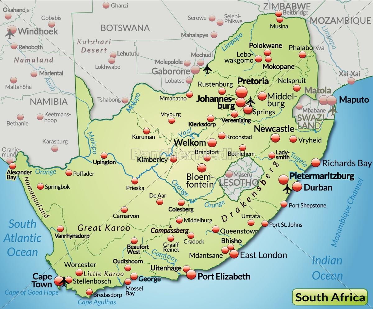 Kort Over Sydafrika Som Kort I Pastellgron Stockphoto