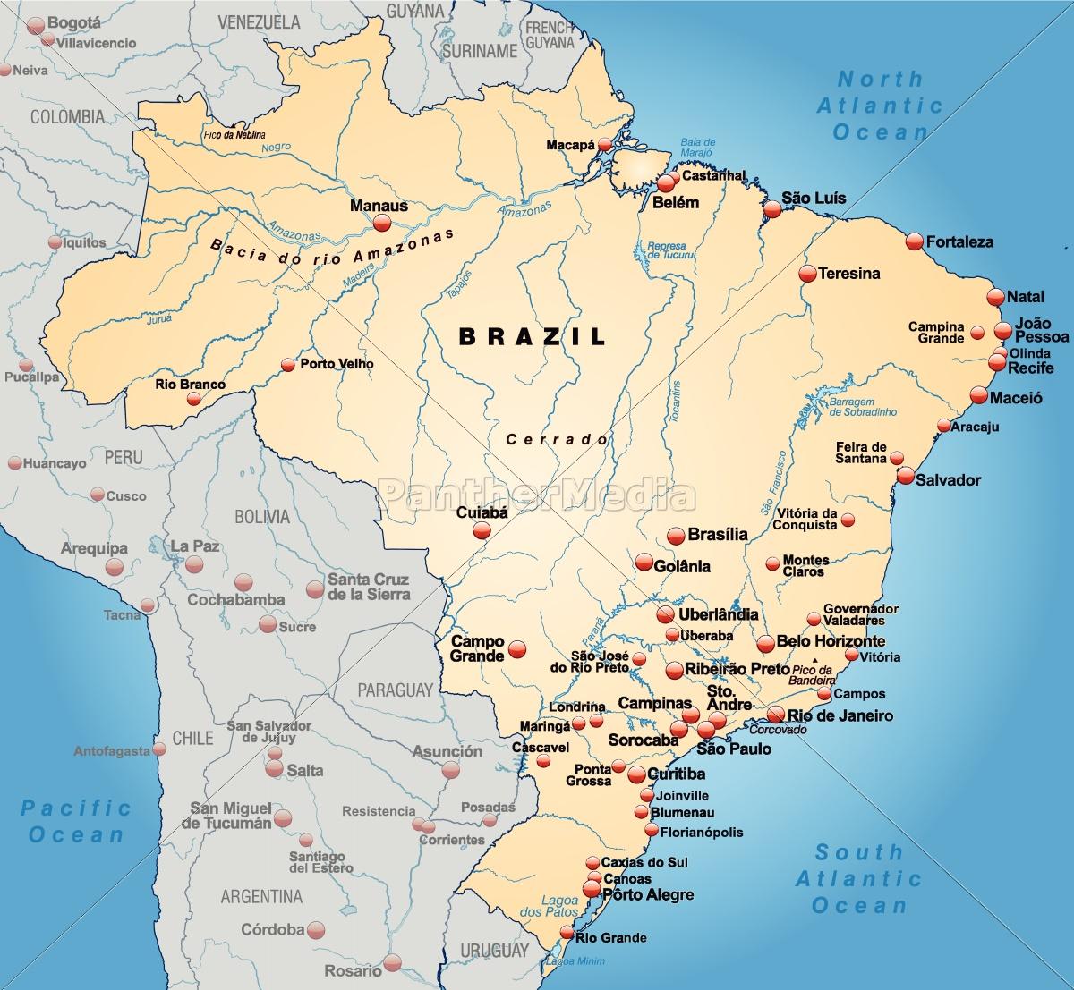 Kort Over Brasilien Som Et Oversigtskort I Pastel Stockphoto
