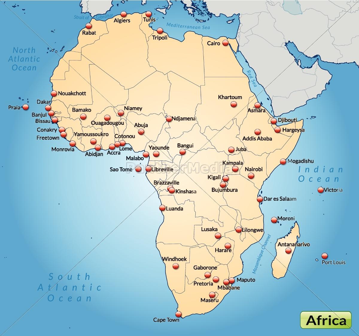 Kort Over Afrika Som Et Oversigtskort I Pastel Appelsin Royalty