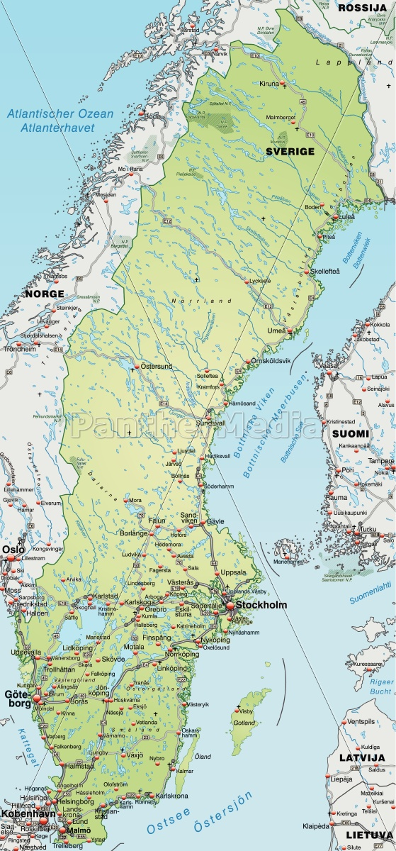 Kort Over Sverige Med Transportnet I Pastel Gron Stockphoto