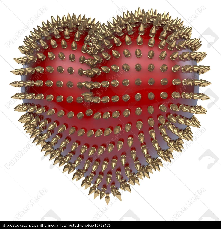 rødt, blank, hjerte, med, gyldne, metal, pigge - 10758175