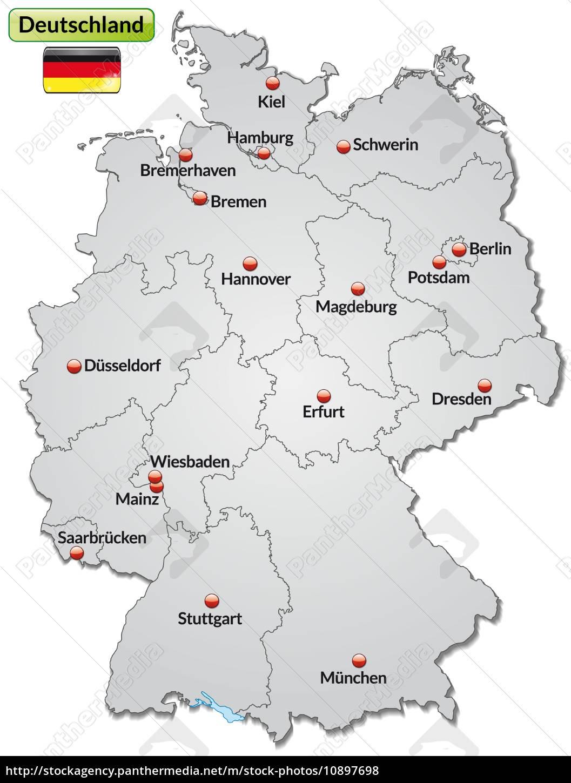 Kort Over Tyskland Med Store Bogstaver I Grat Stockphoto