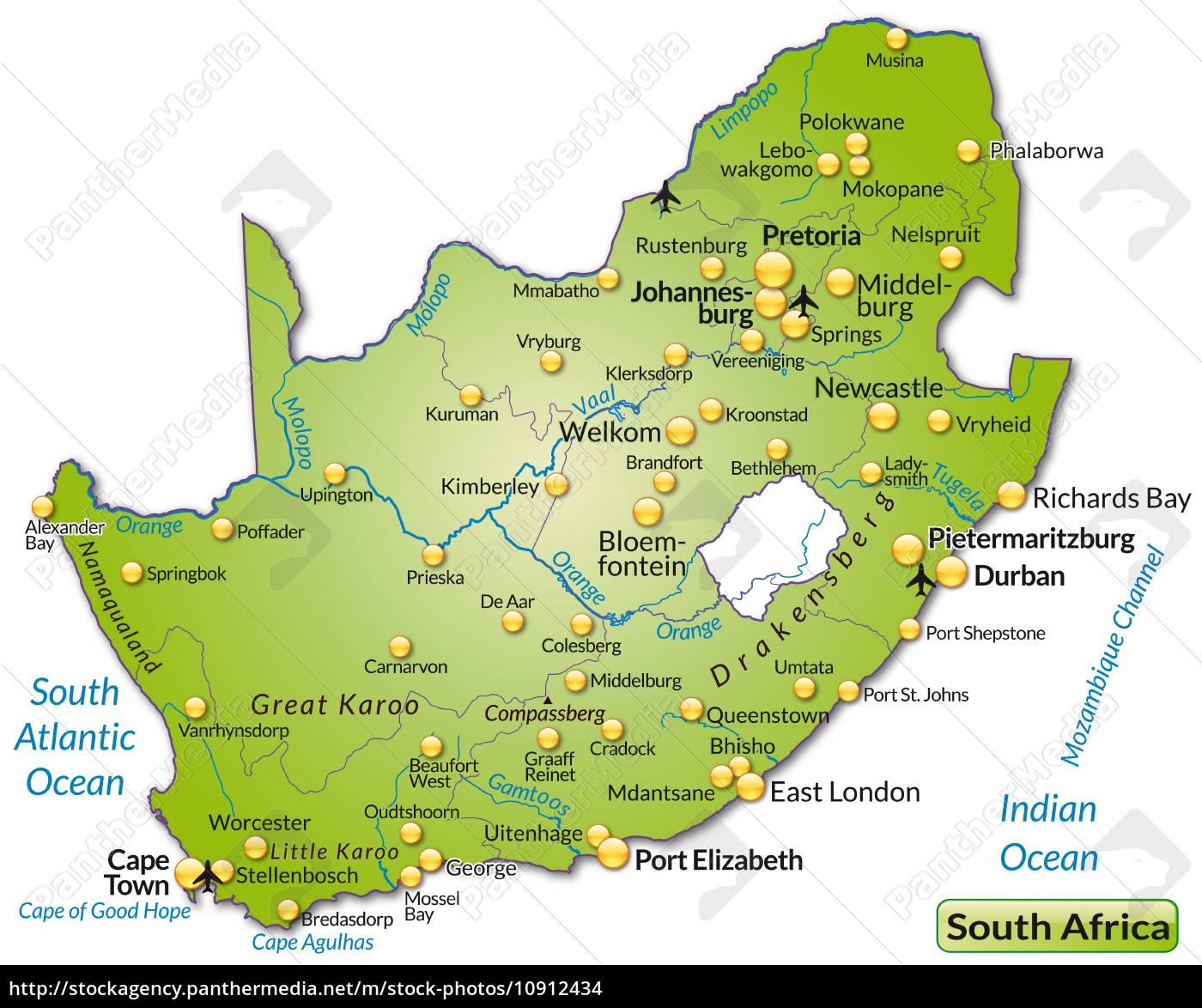 Kort Over Sydafrika Som Et Oversigtskort I Gron Stockphoto
