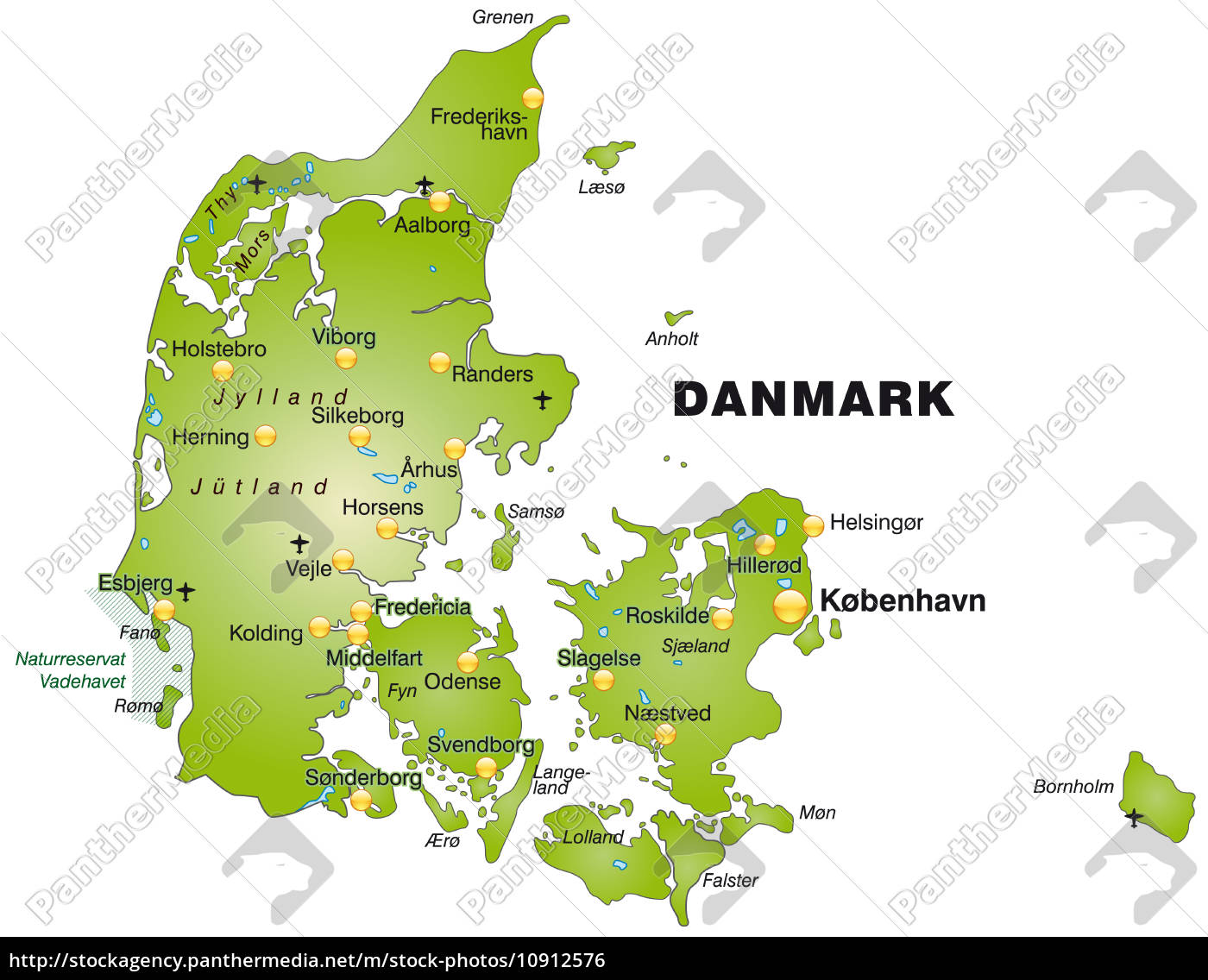 Kort Over Daenemark Som Oversigtkort I Gron Stockphoto