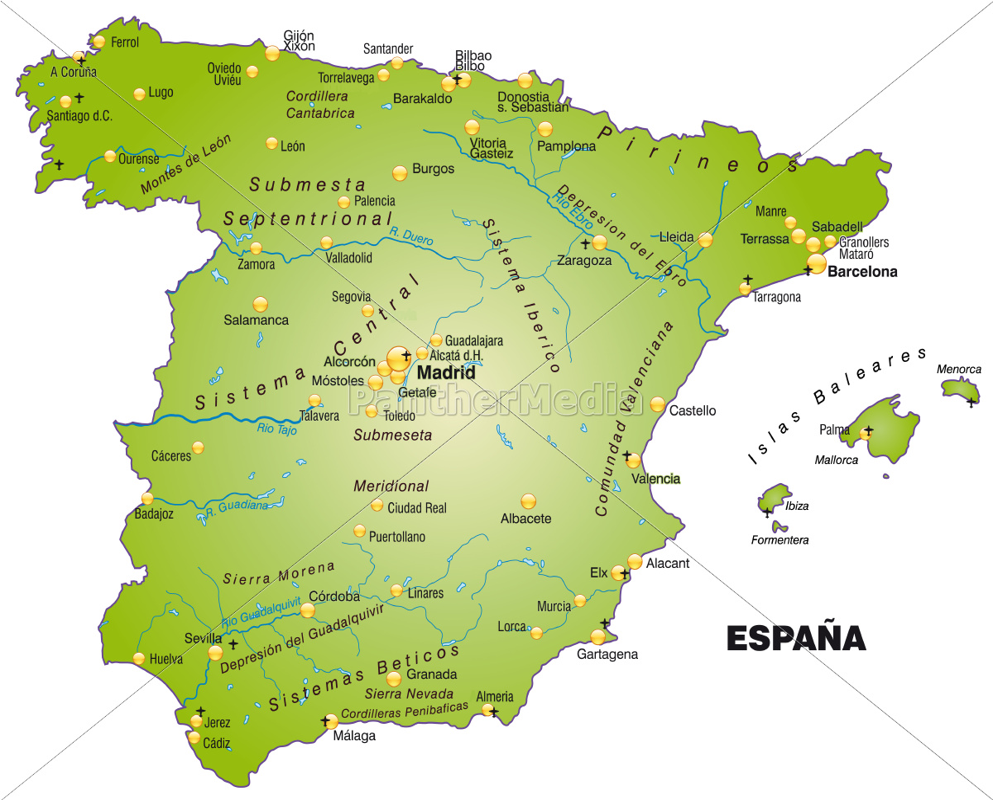 Kort Over Spanien Som Oversigtkort I Gron Stockphoto 10912578