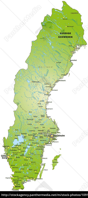 Kort Over Sverige Som Et Oversigtskort I Gron Stockphoto