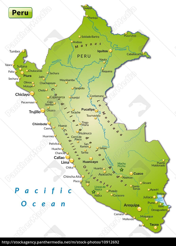 Kort Over Peru Som Oversigtkort I Gron Stockphoto 10912692