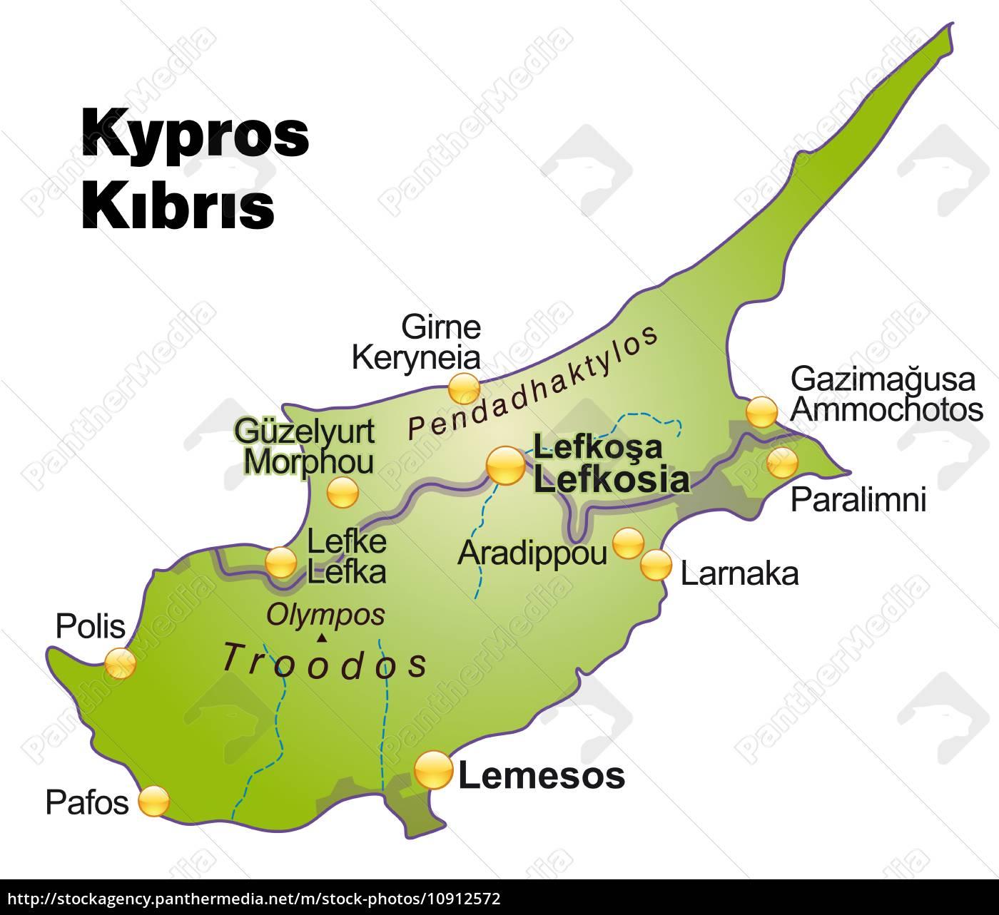Kort Over Cypern Som Oversigtkort I Gron Stockphoto 10912572