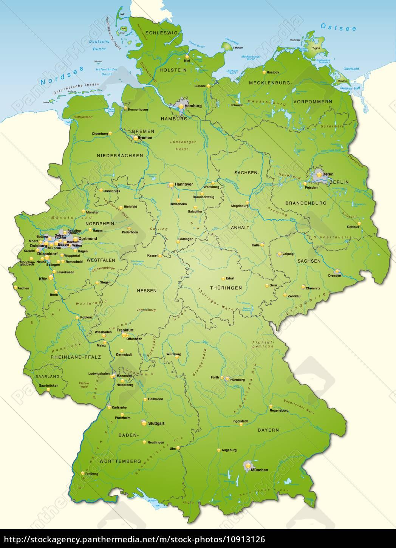 Kort Over Tyskland Som Et Oversigtskort I Gron Stockphoto