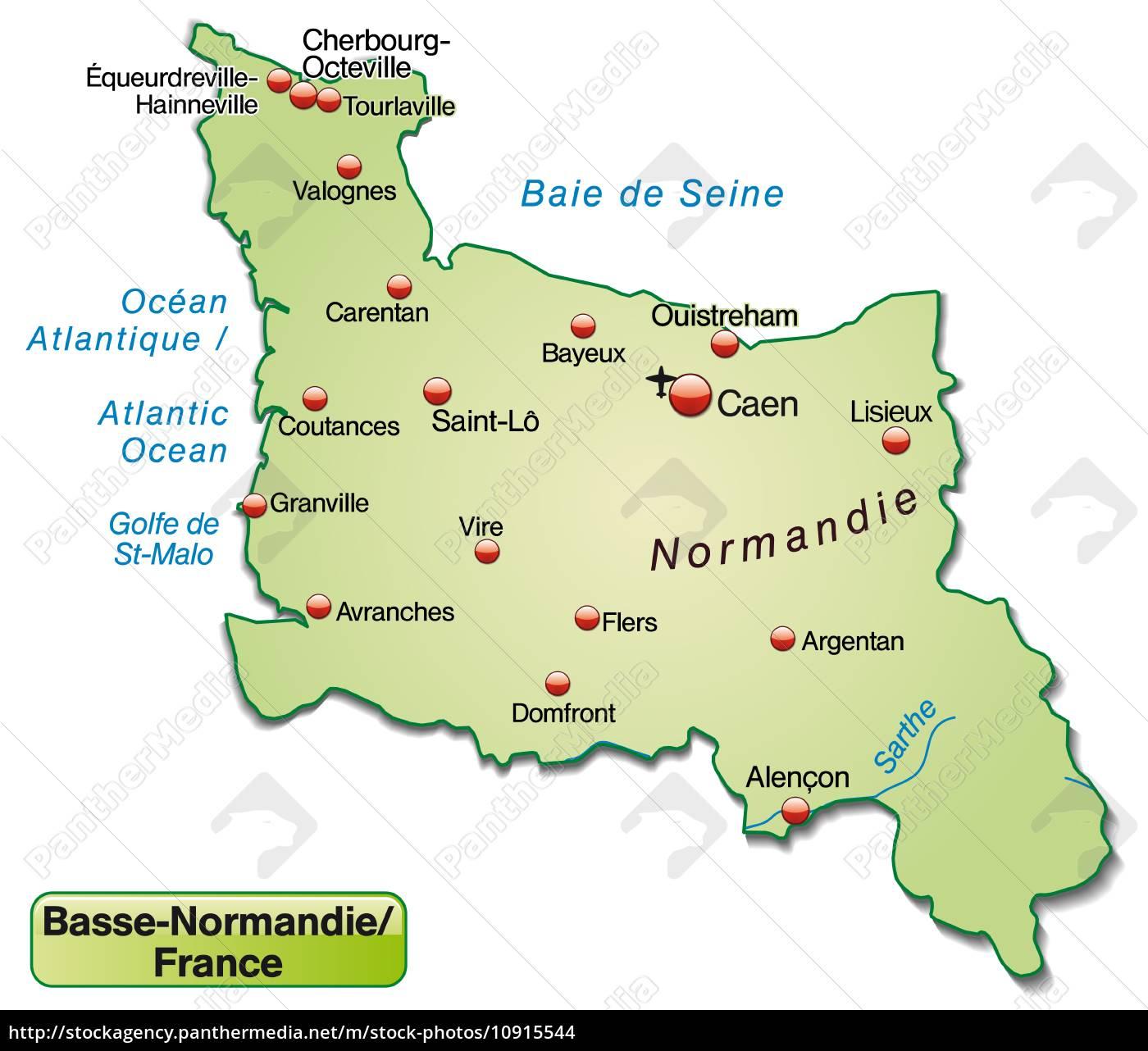 Kort Over Basse Normandie Som Oversigtkort I Pastel Stockphoto
