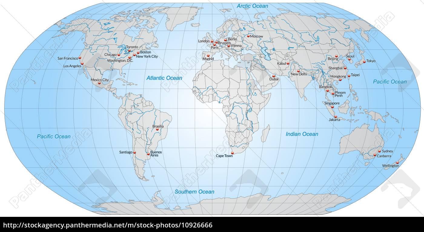 Kort Over Verdens Hovedstaeder I Gra Stockphoto 10926666