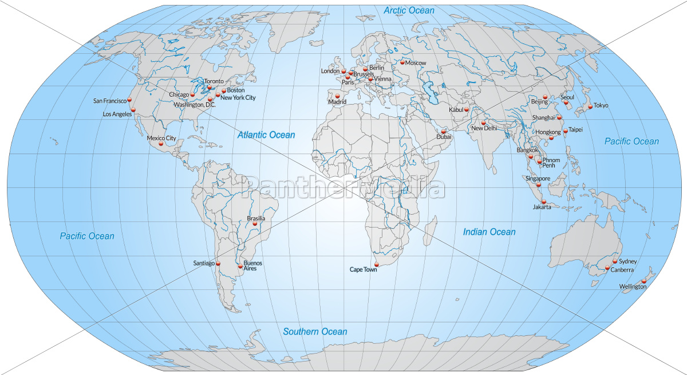 verdenskort med hovedstæder