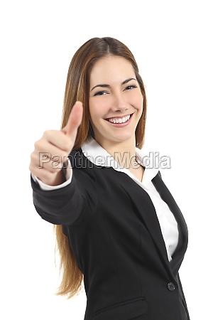 smuk lykkelig business kvinde gestus tommelfinger