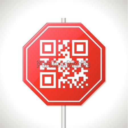 stop tegn design med qr kode