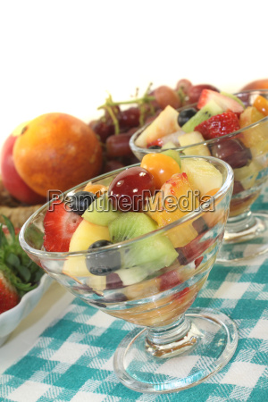 fruit salad on a checkered napkin