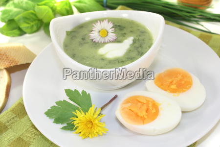 green herbs soup with eggs